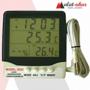 Indoor Outdoor Thermometer Hygro dan Jam AT-303C