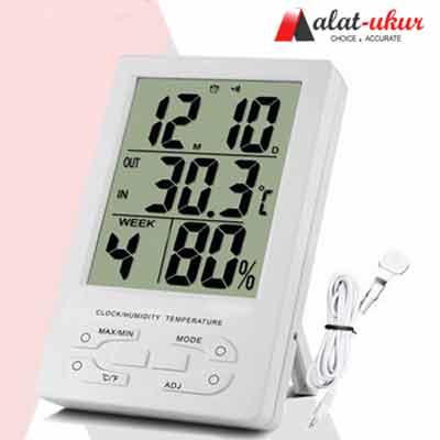 ... Goshop Jam Meja Kalender Digital Alarm Alat Ukur Suhu Temperatur Kelembaban putih